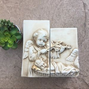 Ceramic Candles Angel playing baby to sleep violin